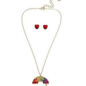 Rainbow Pendant Necklace & Stud Earrings Set